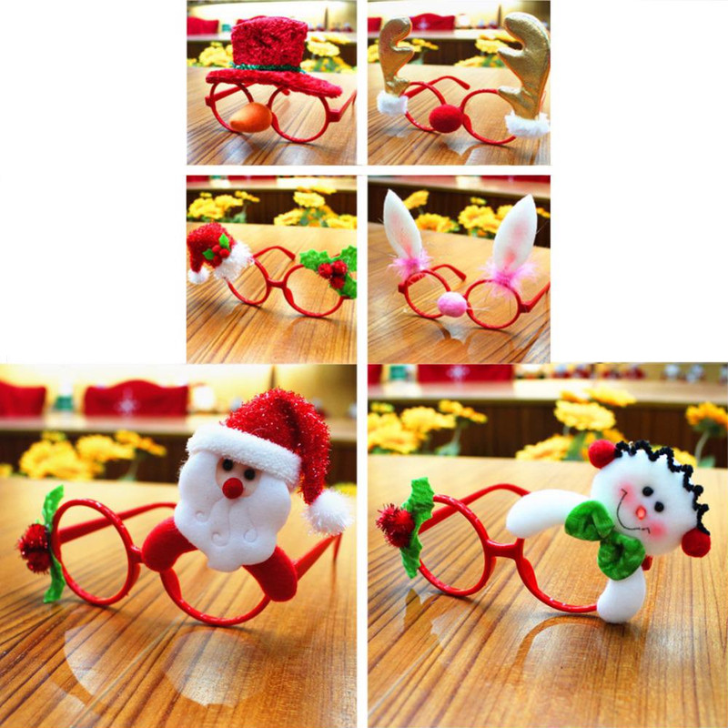 Christmas Face Glasses Frames For Decor Party Kids Toy Rabbit Santa