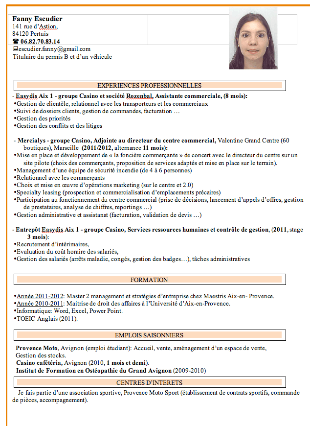 cv stage assistant de gestion