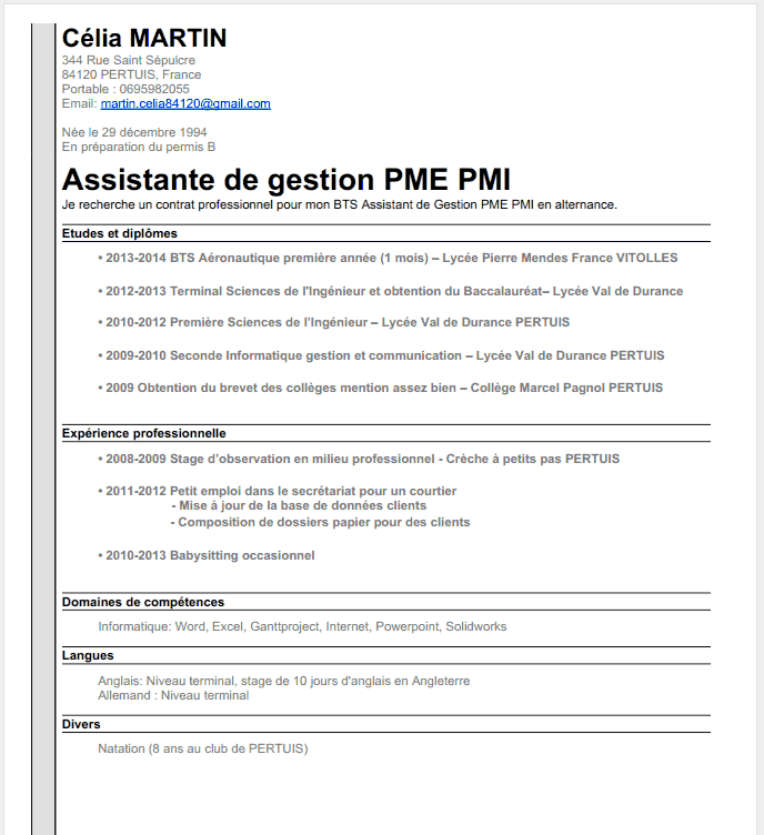 exemple de cv bts assistant manager en alternance