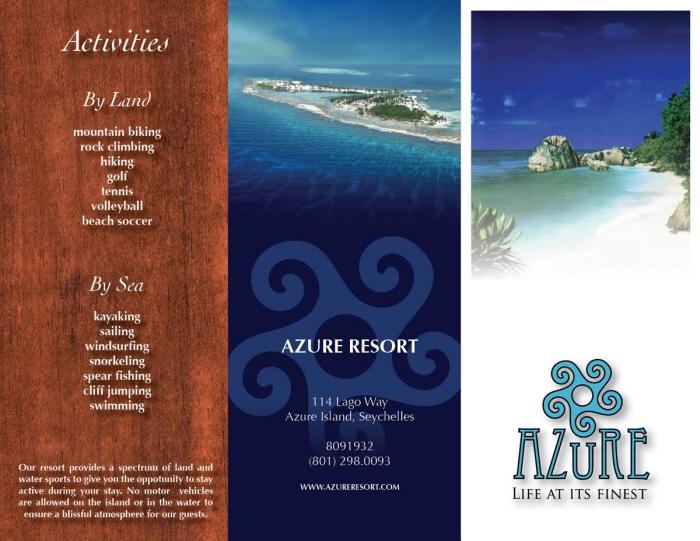 Azure Resort Brochures  Ads by Jeff Weadick at Coroflot
