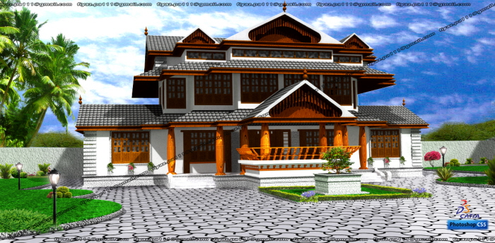 Traditional kerala home design by FIYAZ PA at Coroflot
