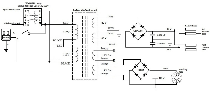 audio amplifier output relay delay
