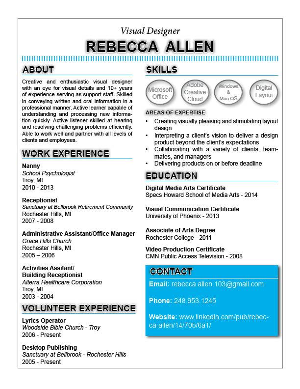 Visual Designer Resume by Rebecca Allen at Coroflot