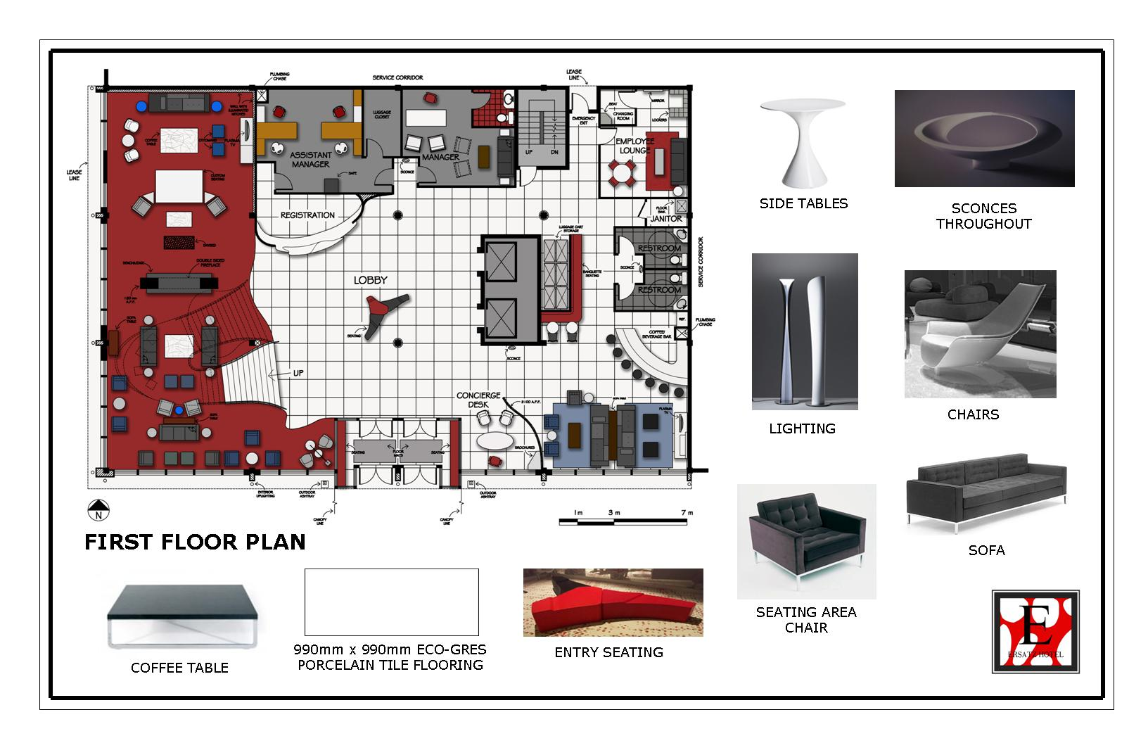 Hotel first floor and materials first floor plan of the san francisco hotel as well as some of the major furniture pieces throughout the space