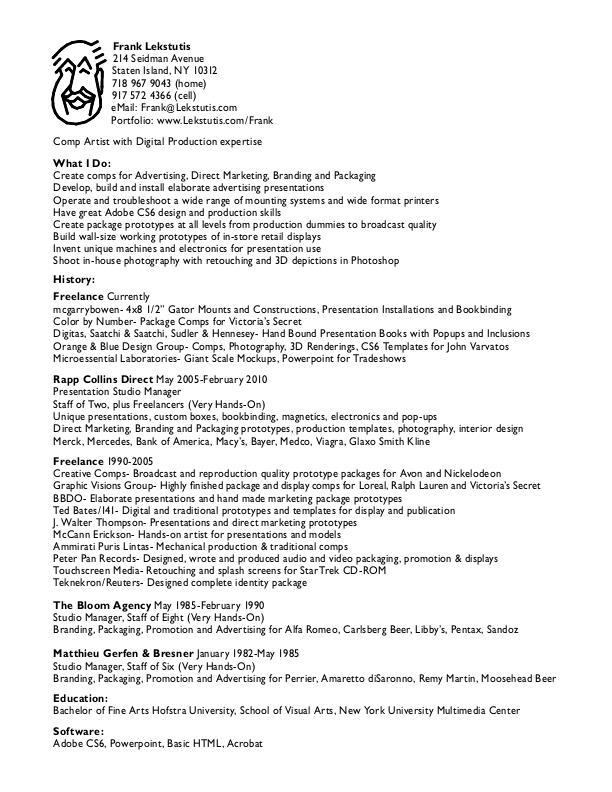 Download My Resume and Sample Sheets here by Frank Lekstutis at - design studio manager sample resume