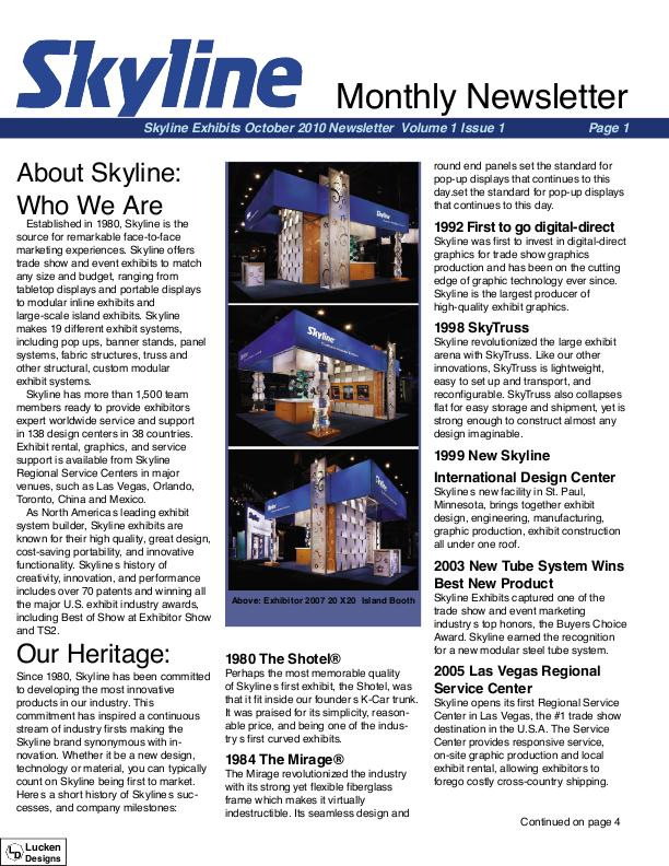 Skyline Exhibits Monthly Newsletter by Kyle Lucken at Coroflot