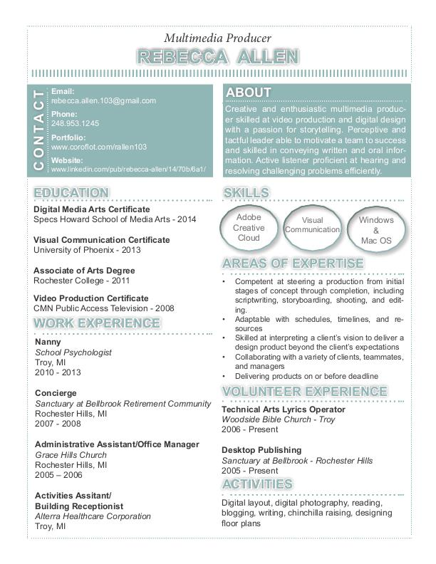 Multimedia Producer Resume by Rebecca Allen at Coroflot