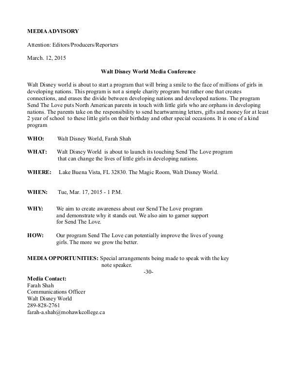 Media advisory for Walt Disney by Farah Shah at Coroflot