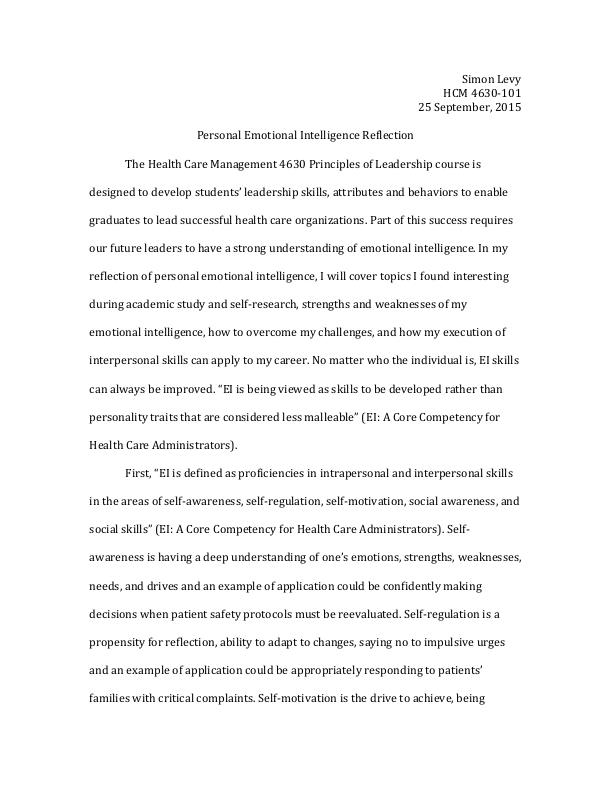 Emotional Intelligence reflection essay by Simon Levy at Coroflot - emotional intelligence pdf