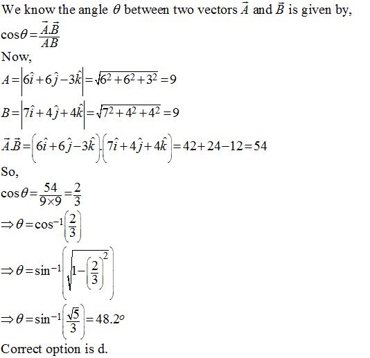 The angle between two vectors given by 6i^+6j^-3k^ and 7i^+4j^+4k
