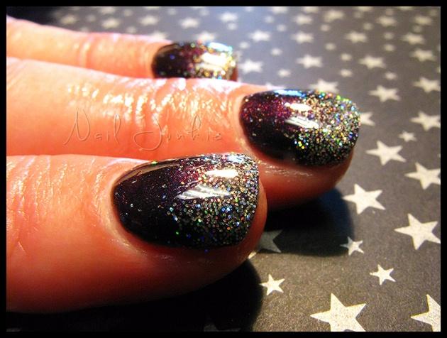 Plum Gel Mani With Glitter Fade Nail Art Gallery