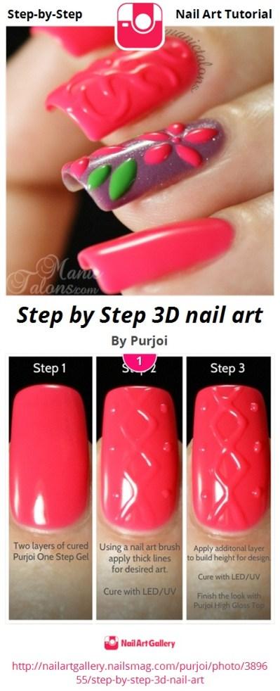 Step by Step 3D nail art - Nail Art Gallery Step-by-Step Tutorial Photos