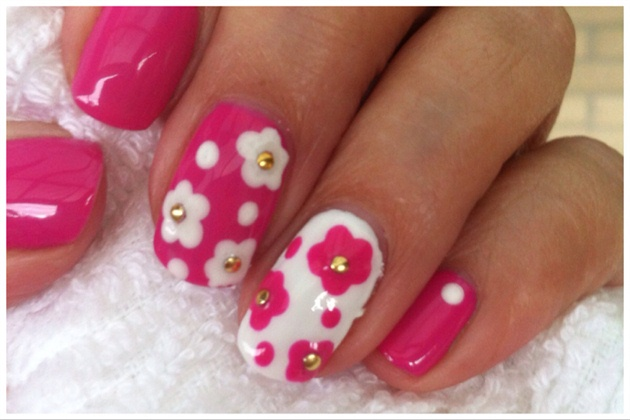 Hot Pop Pink Cream Puff Cnd Shellac Nail Art Gallery