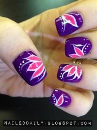 Hot Pink Lotus - Nail Art Gallery