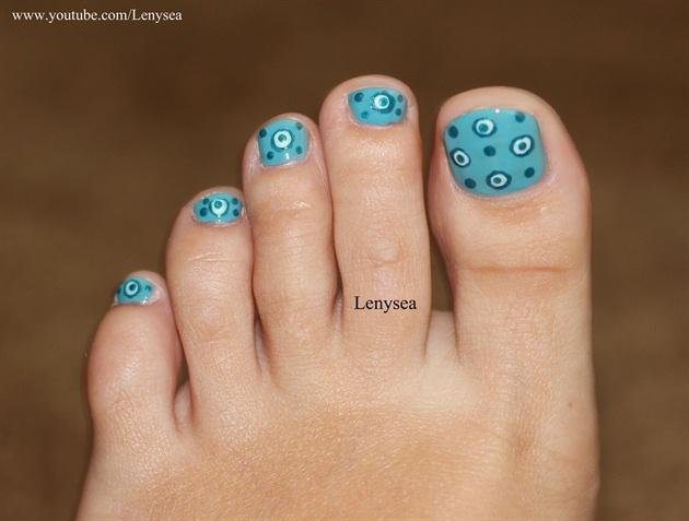 Blue Dots Toe Nail Design Nail Art Gallery