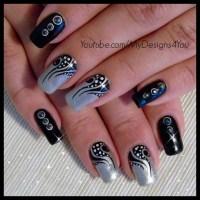 Nail Art: Tattoo, Black and Silver Nails - Nail Art Gallery