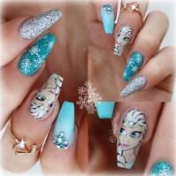 hand painted elsa, frozen nails - Nail Art Gallery
