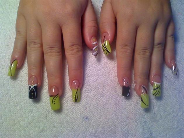 Lime Green N Black Nail Art Gallery