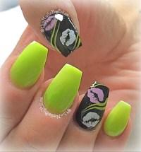 Neon Green and Black Acrylic Nails - Nail Art Gallery