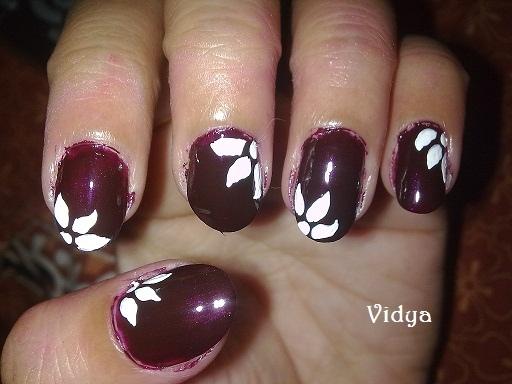 Dark Brown Floral Nail Art Gallery