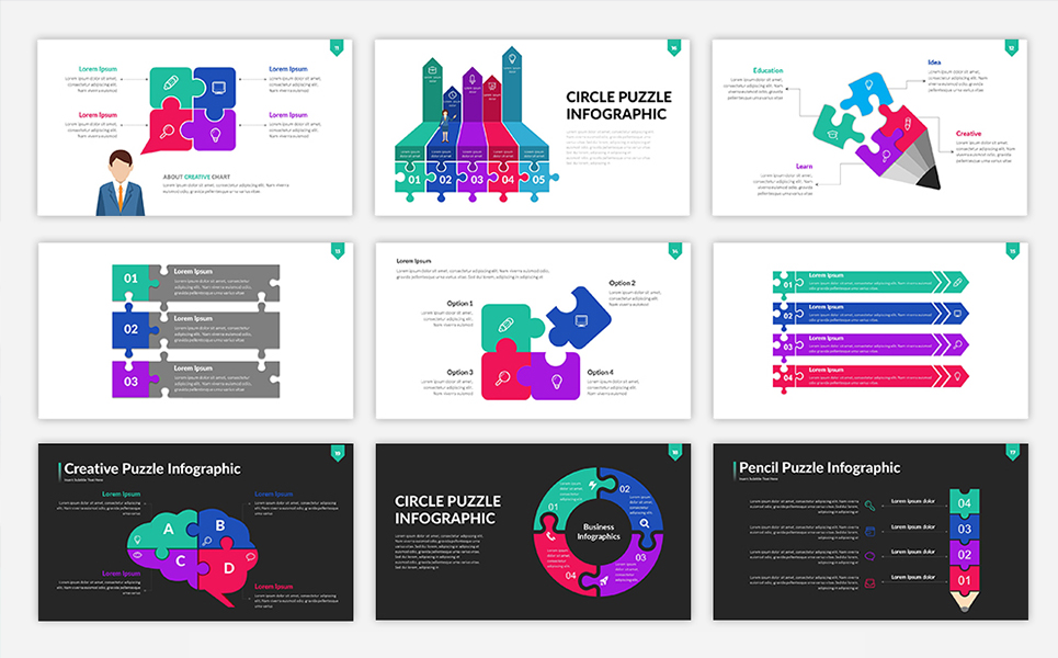 Puzzle Infographic Presentation PowerPoint Template #68579