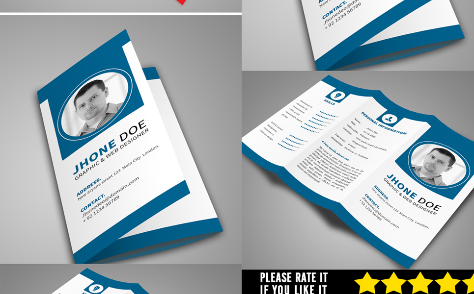 Trifold Resume Template #68271 - Tri Fold Resume