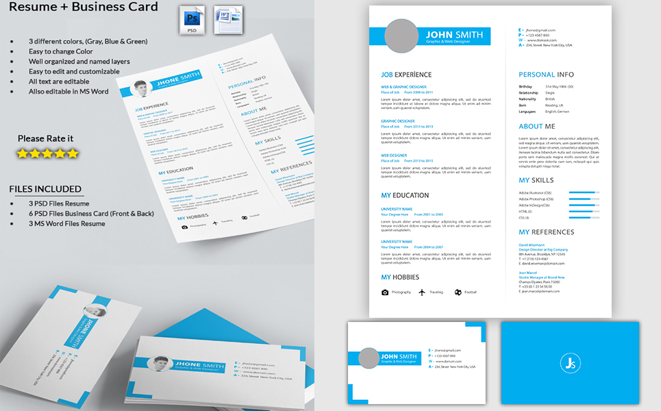 Graphic Designer- CV with Business Card Resume Template #71564 - business card resume