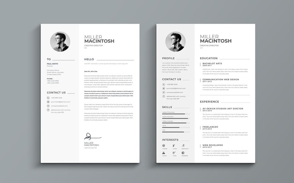 Miller Macintosh - Creative Resume Template #67819 - interesting resume template