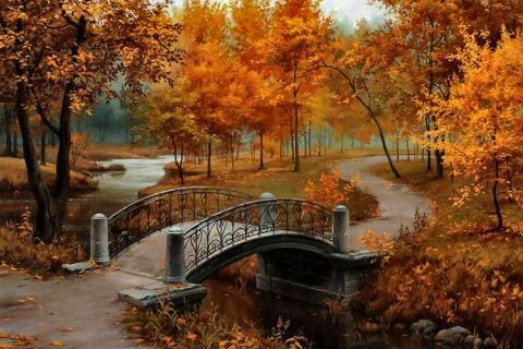 Falling Leaves Wallpaper For Iphone Autumn Bridge F Landscape Art Scenery Painting Artwork