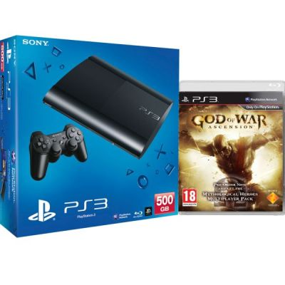 PS3: New Sony PlayStation 3 Slim Console (500 GB) - Black - Includes (God of War: Ascension ...