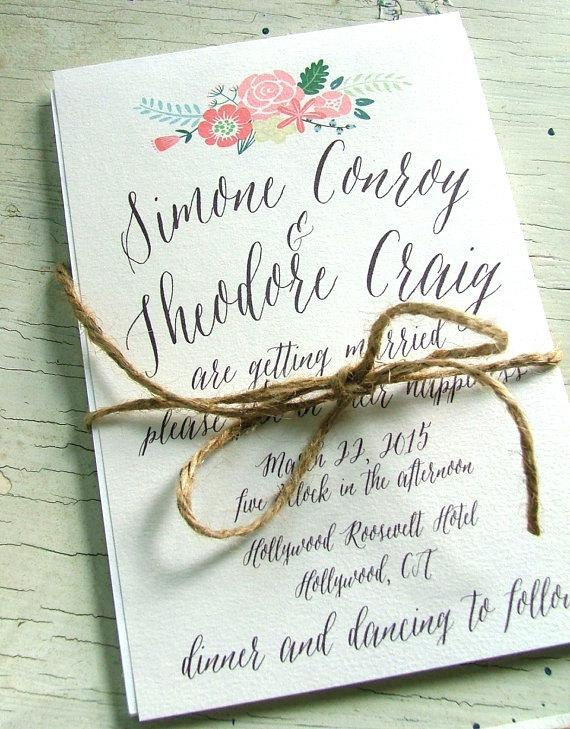Peach Wedding Invitation, Modern Flower Invitations, Pink And Mint