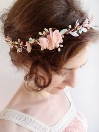 Mint Hair Piece, Floral Crown, Mint Flower Circlet, Blush