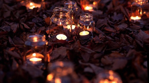 Dark Cozy Girl Wallpaper Autumn Autumn Leaves Brown Candle Candles Image