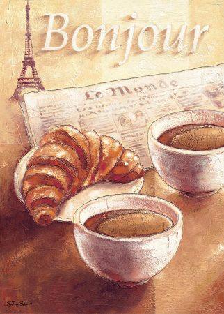 Wallpaper Pink Cute Girl Breakfast Coffee Croissant Eiffel Tower Image 770944