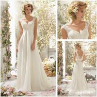 New White Lace Cap Sleeve A-Line Floor Length Wedding ...