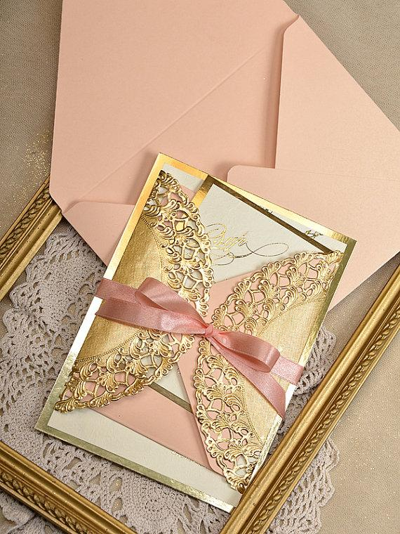peach quinceanera invitations