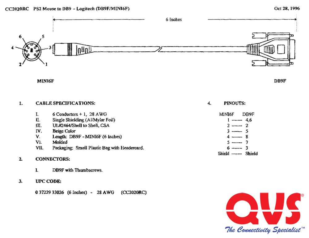 CC2020RC - 6 Inches DB9 Female to Mini6 Female Logitech PS/2 Mouse