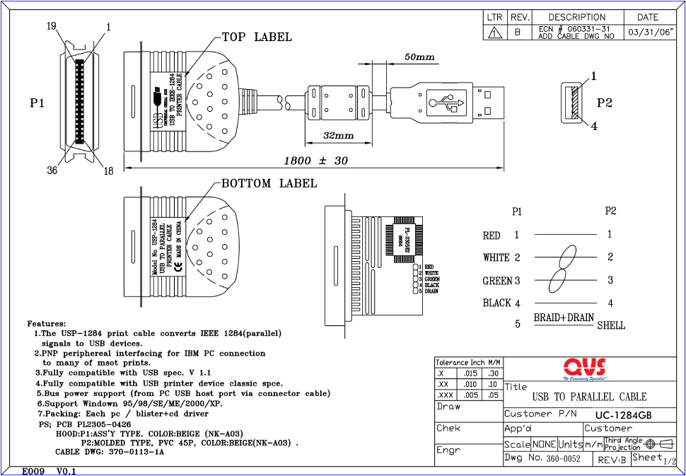 For Micro Usb Wire Color Diagram Uc 1284gb 6ft Usb To Ieee1284 Parallel Printer Bi