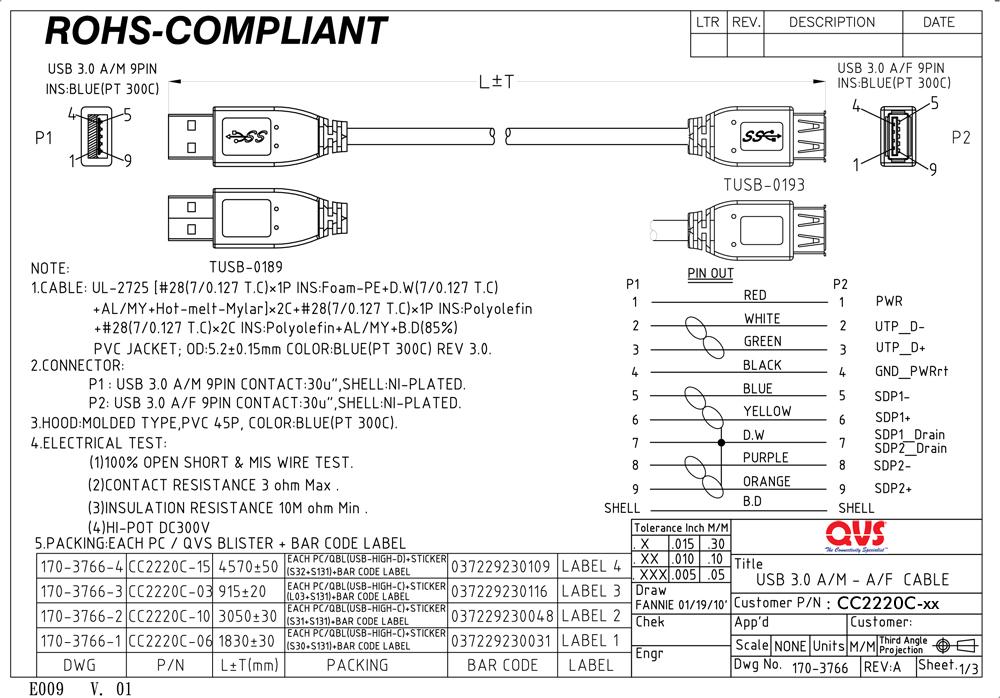 QVS - USB 30 Cables