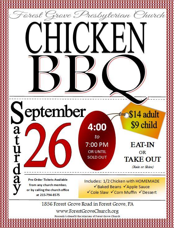 Chicken BBQ \u2013 September 26 \u2013 Forest Grove Presbyterian Church - bbq benefit flyers
