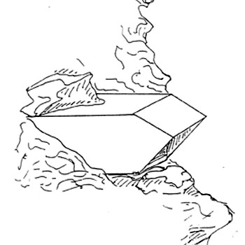 Nest box in cliff. Drawing by Tony Cross