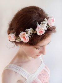 Pink Rose Flower Crown - Bridal Hair Piece #2226158 - Weddbook