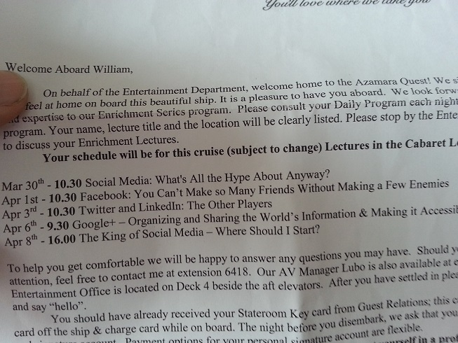 What Does the Cruise Ship Speaker Welcome Letter Look Like?