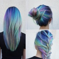 long hair, hair color, hair bun, colorful hair, rainbow ...