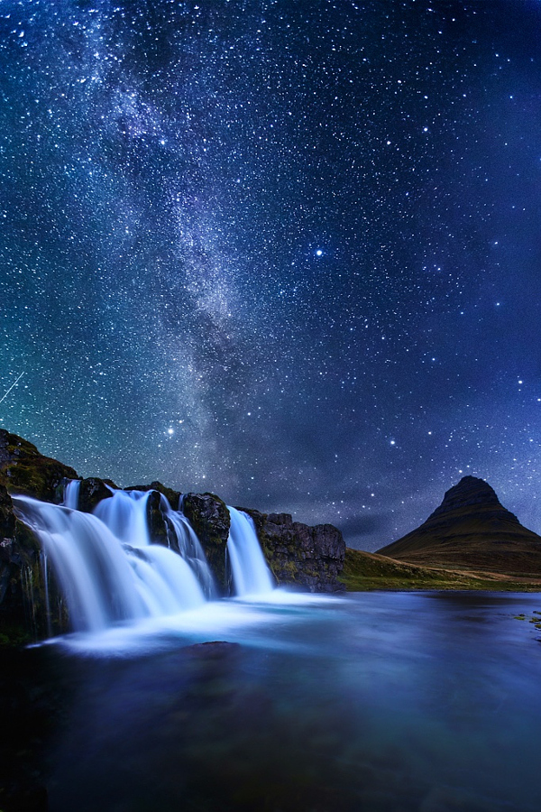 Iphone 6 Wallpaper Love Quotes Milky Way Over Iceland Waterfall Image 3335777 By