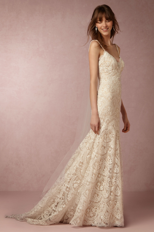 elise gown nude wedding dress Watters Nude Elise Gown BHLDN
