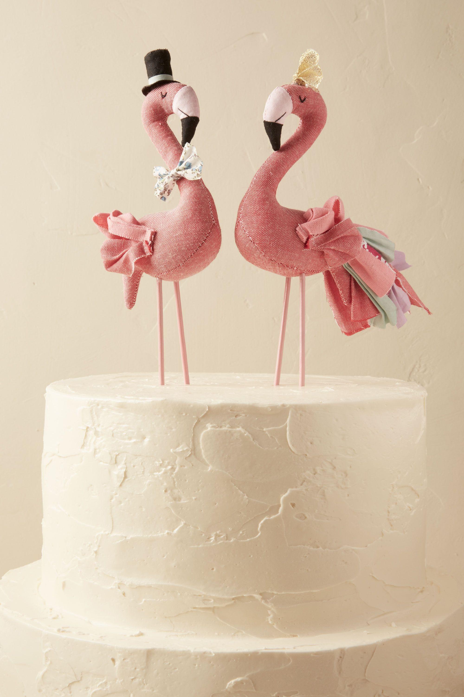 mr mrs flamingo cake topper wedding cake topper Rose Mr Mrs Flamingo Cake Topper 2 BHLDN