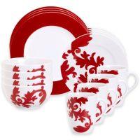 Euro Ceramica Calarama 16-Piece Dinnerware Set in Red ...
