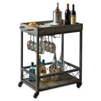 Modern Farmhouse Industrial Bar cart in Grey - Bed Bath ...