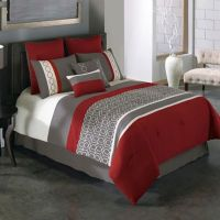 Covington 8-Piece Comforter Set in Red/Grey - Bed Bath ...